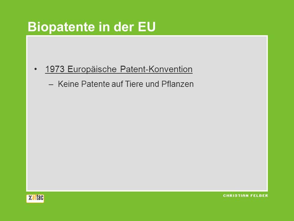 1973 Europäische Patent-Konvention –Keine Patente auf Tiere und Pflanzen Biopatente in der EU