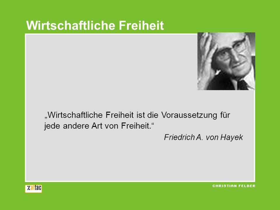 Wirtschaftliche Freiheit ist die Voraussetzung für jede andere Art von Freiheit. Friedrich A. von Hayek Wirtschaftliche Freiheit