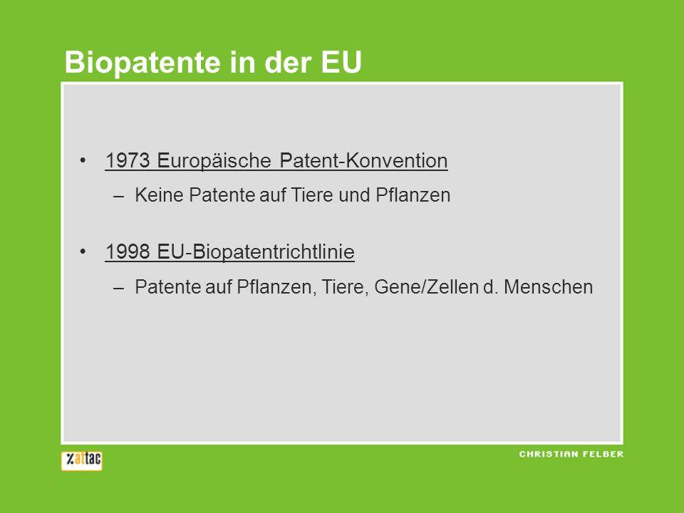 1973 Europäische Patent-Konvention –Keine Patente auf Tiere und Pflanzen 1998 EU-Biopatentrichtlinie –Patente auf Pflanzen, Tiere, Gene/Zellen d.