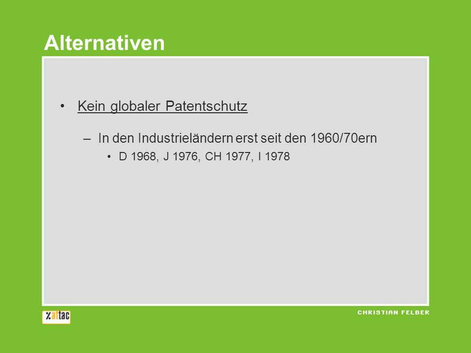 Kein globaler Patentschutz –In den Industrieländern erst seit den 1960/70ern D 1968, J 1976, CH 1977, I 1978 Alternativen