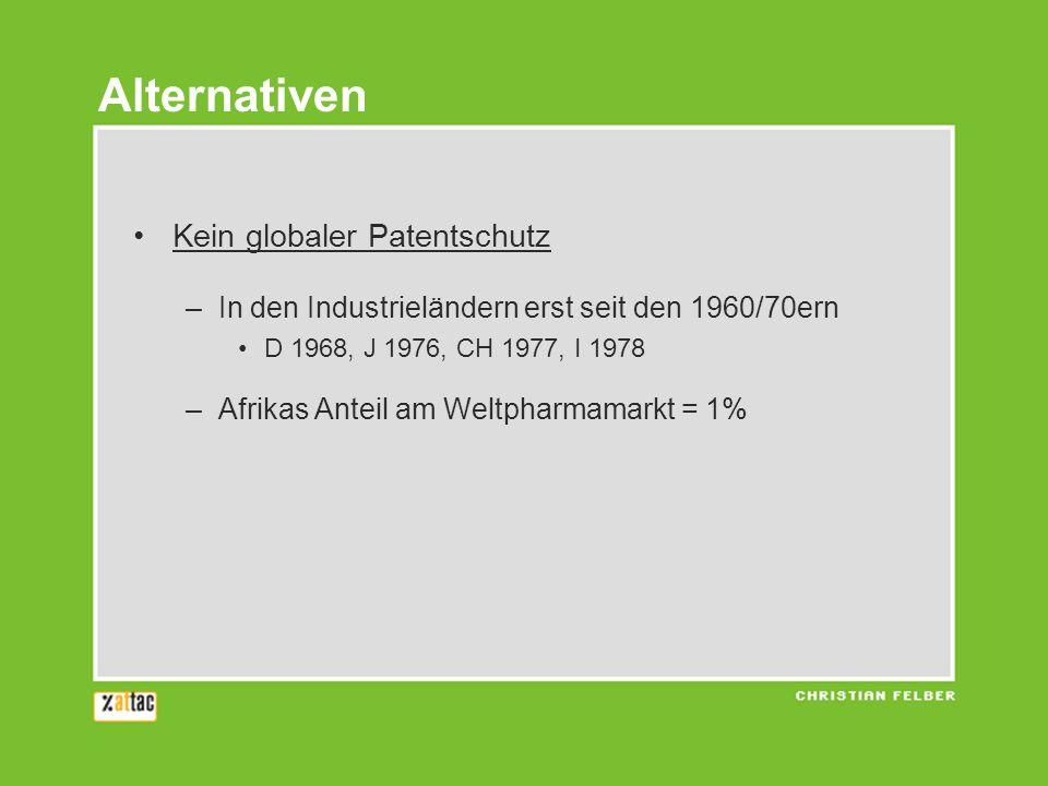 Kein globaler Patentschutz –In den Industrieländern erst seit den 1960/70ern D 1968, J 1976, CH 1977, I 1978 –Afrikas Anteil am Weltpharmamarkt = 1% Alternativen