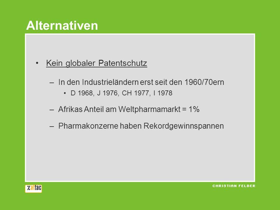 Kein globaler Patentschutz –In den Industrieländern erst seit den 1960/70ern D 1968, J 1976, CH 1977, I 1978 –Afrikas Anteil am Weltpharmamarkt = 1% –Pharmakonzerne haben Rekordgewinnspannen Alternativen