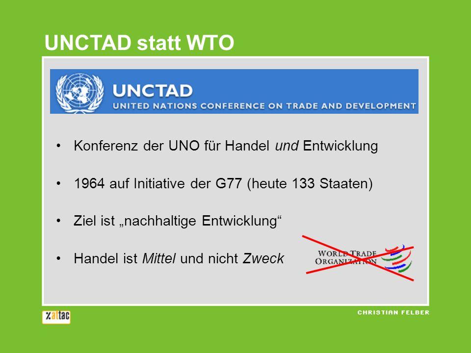 UNCTAD statt WTO Konferenz der UNO für Handel und Entwicklung 1964 auf Initiative der G77 (heute 133 Staaten) Ziel ist nachhaltige Entwicklung Handel ist Mittel und nicht Zweck
