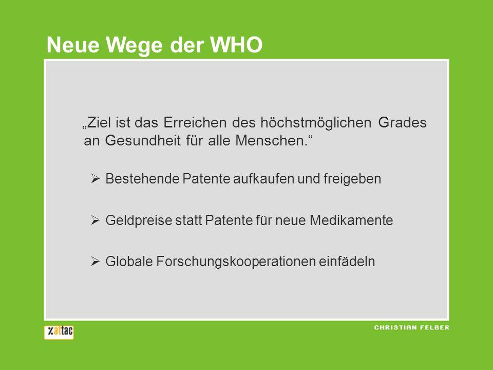 Ziel ist das Erreichen des höchstmöglichen Grades an Gesundheit für alle Menschen. Bestehende Patente aufkaufen und freigeben Geldpreise statt Patente