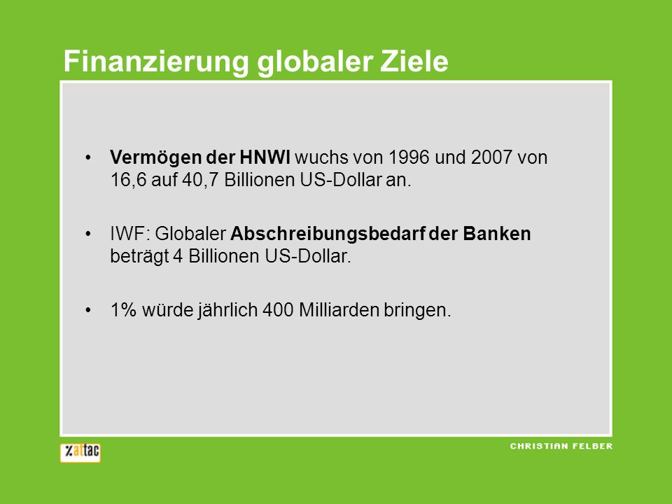 Vermögen der HNWI wuchs von 1996 und 2007 von 16,6 auf 40,7 Billionen US-Dollar an. IWF: Globaler Abschreibungsbedarf der Banken beträgt 4 Billionen U