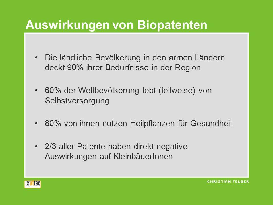 Die ländliche Bevölkerung in den armen Ländern deckt 90% ihrer Bedürfnisse in der Region 60% der Weltbevölkerung lebt (teilweise) von Selbstversorgung 80% von ihnen nutzen Heilpflanzen für Gesundheit 2/3 aller Patente haben direkt negative Auswirkungen auf KleinbäuerInnen Auswirkungen von Biopatenten