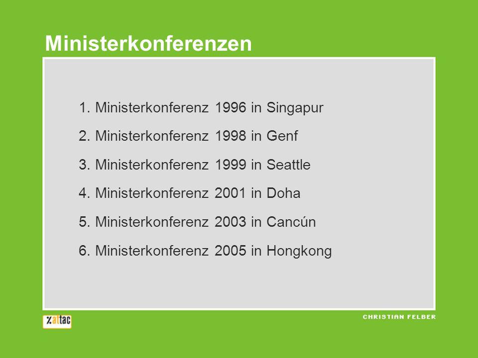 1. Ministerkonferenz 1996 in Singapur 2. Ministerkonferenz 1998 in Genf 3. Ministerkonferenz 1999 in Seattle 4. Ministerkonferenz 2001 in Doha 5. Mini