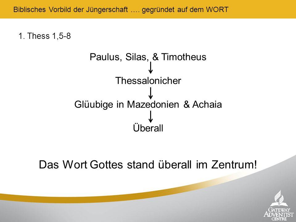 1. Thess 1,5-8 Paulus, Silas, & Timotheus Thessalonicher Glüubige in Mazedonien & Achaia Überall Das Wort Gottes stand überall im Zentrum! Biblisches