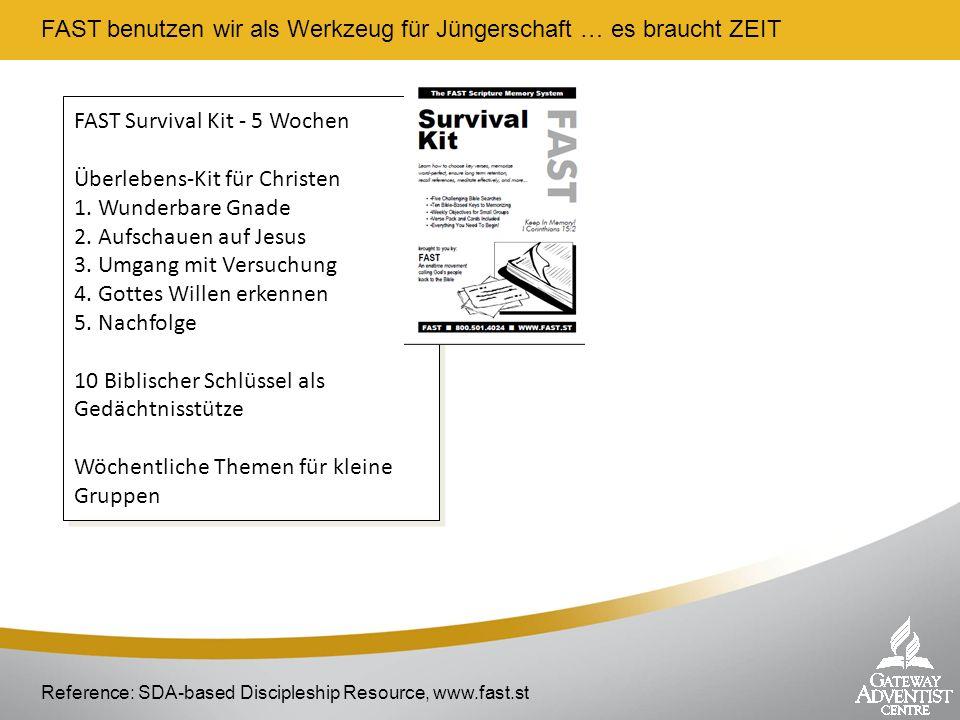 FAST benutzen wir als Werkzeug für Jüngerschaft … es braucht ZEIT Reference: SDA-based Discipleship Resource, www.fast.st FAST Survival Kit - 5 Wochen
