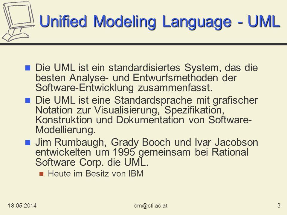 18.05.20143cm@cti.ac.at Unified Modeling Language - UML Die UML ist ein standardisiertes System, das die besten Analyse- und Entwurfsmethoden der Soft