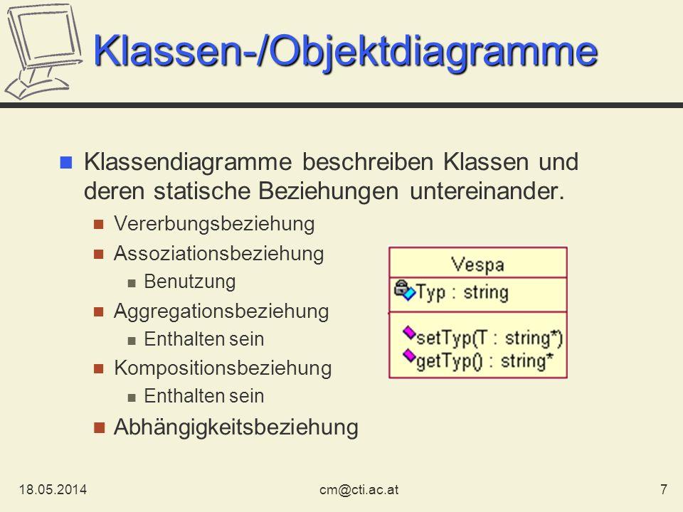 18.05.20147cm@cti.ac.at Klassen-/Objektdiagramme Klassendiagramme beschreiben Klassen und deren statische Beziehungen untereinander. Vererbungsbeziehu