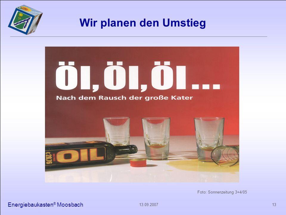 Energiebaukasten ® Moosbach 1313.09.2007 Foto: Sonnenzeitung 3+4/05 Wir planen den Umstieg