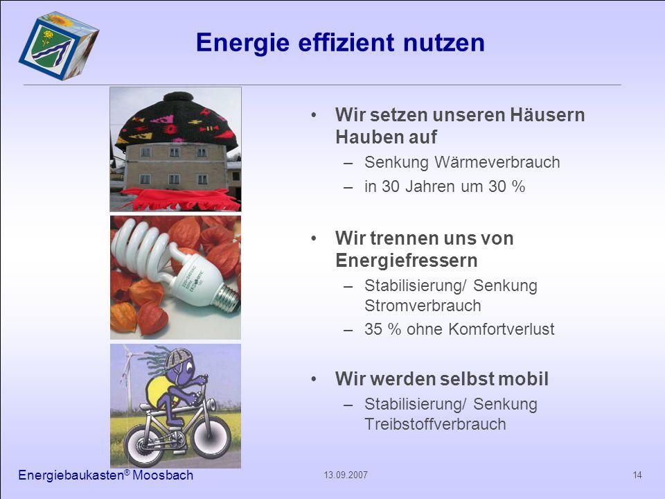 Energiebaukasten ® Moosbach 1413.09.2007 Energie effizient nutzen Wir setzen unseren Häusern Hauben auf –Senkung Wärmeverbrauch –in 30 Jahren um 30 %