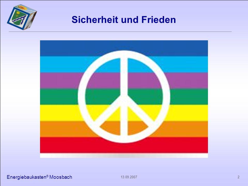 Energiebaukasten ® Moosbach 213.09.2007 Sicherheit und Frieden