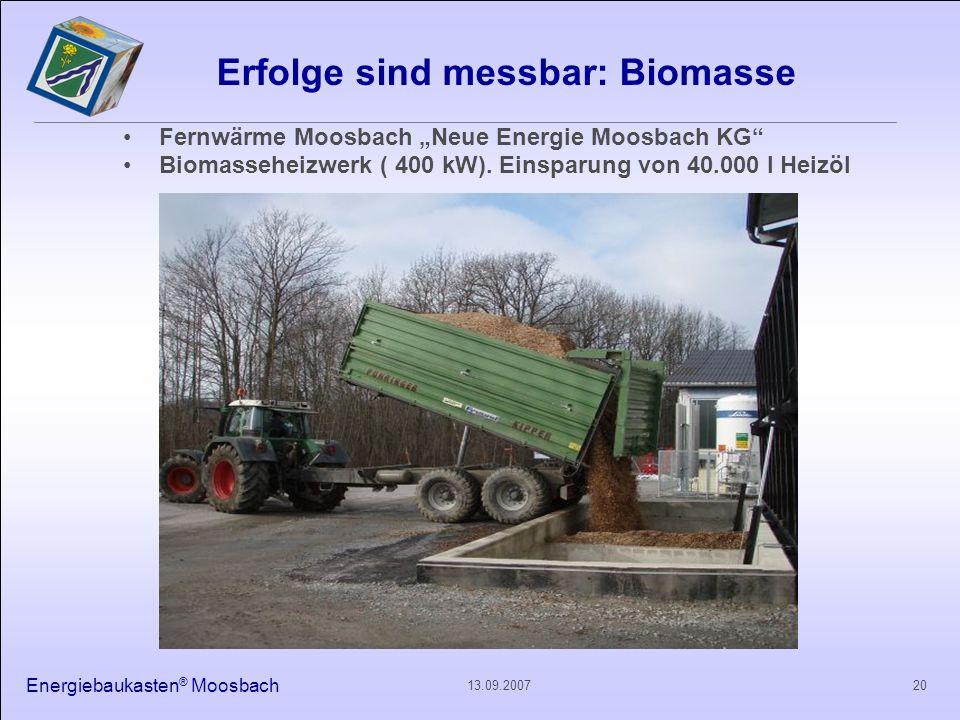 Energiebaukasten ® Moosbach 2013.09.2007 Erfolge sind messbar: Biomasse Fernwärme Moosbach Neue Energie Moosbach KG Biomasseheizwerk ( 400 kW). Einspa