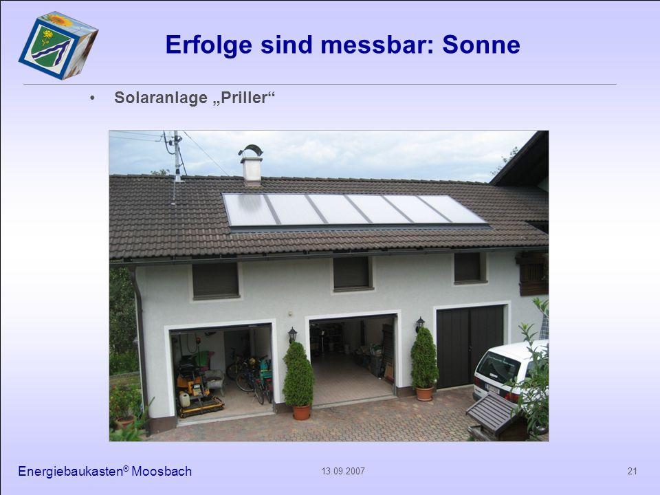 Energiebaukasten ® Moosbach 2113.09.2007 Erfolge sind messbar: Sonne Solaranlage Priller