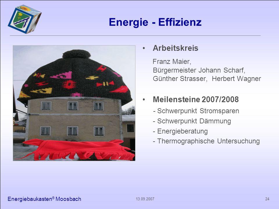 Energiebaukasten ® Moosbach 2413.09.2007 Energie - Effizienz Arbeitskreis Franz Maier, Bürgermeister Johann Scharf, Günther Strasser, Herbert Wagner M