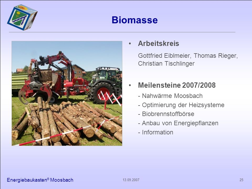 Energiebaukasten ® Moosbach 2513.09.2007 Biomasse Arbeitskreis Gottfried Eiblmeier, Thomas Rieger, Christian Tischlinger Meilensteine 2007/2008 - Nahw