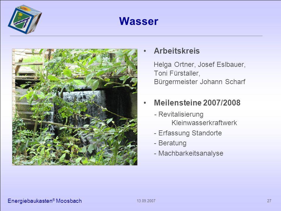 Energiebaukasten ® Moosbach 2713.09.2007 Wasser Arbeitskreis Helga Ortner, Josef Eslbauer, Toni Fürstaller, Bürgermeister Johann Scharf Meilensteine 2