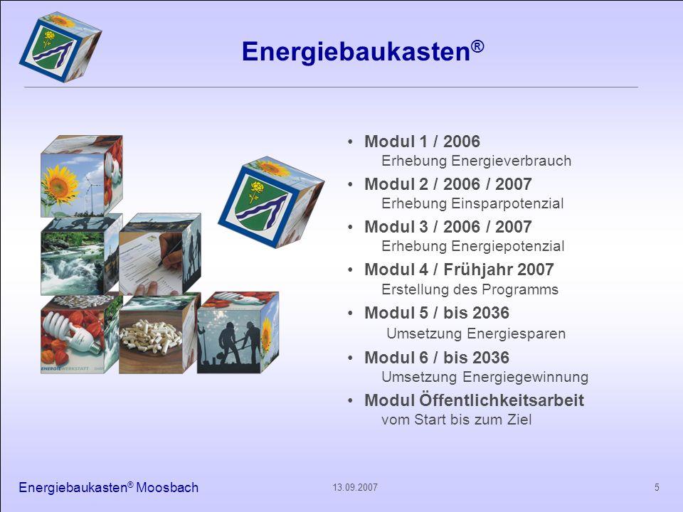 Energiebaukasten ® Moosbach 513.09.2007 Energiebaukasten ® Modul 1 / 2006 Erhebung Energieverbrauch Modul 2 / 2006 / 2007 Erhebung Einsparpotenzial Mo