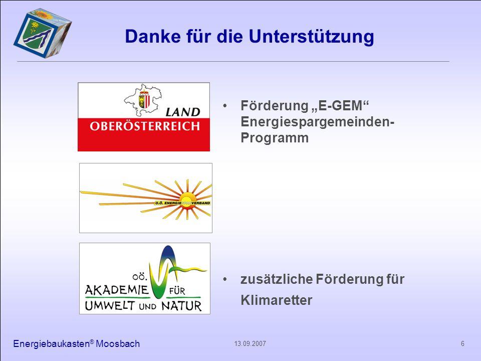 Energiebaukasten ® Moosbach 613.09.2007 Danke für die Unterstützung Förderung E-GEM Energiespargemeinden- Programm zusätzliche Förderung für Klimarett