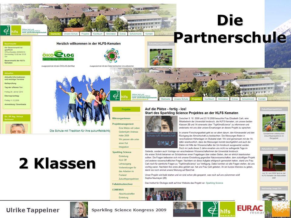 Ulrike Tappeiner Sparkling Science Kongress 2009 Die Partnerschule 2 Klassen