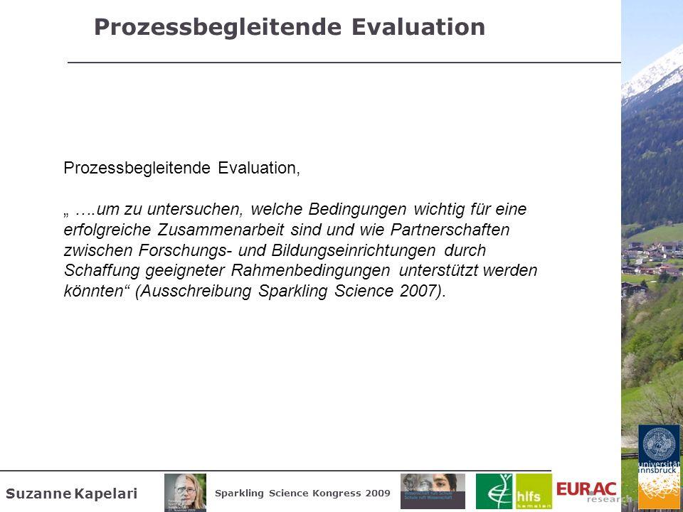 Suzanne Kapelari Sparkling Science Kongress 2009 Prozessbegleitende Evaluation Prozessbegleitende Evaluation, ….um zu untersuchen, welche Bedingungen