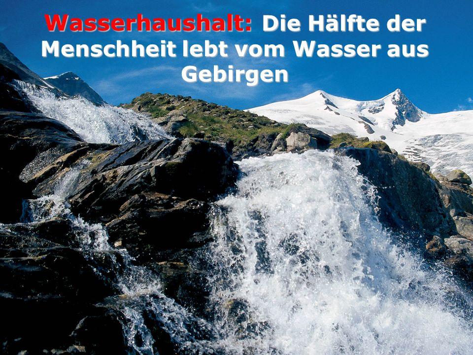 Ulrike Tappeiner Sparkling Science Kongress 2009 Wasserhaushalt: Die Hälfte der Menschheit lebt vom Wasser aus Gebirgen
