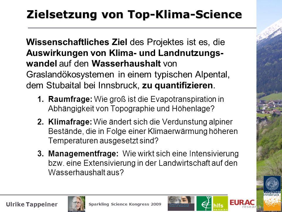 Ulrike Tappeiner Sparkling Science Kongress 2009 Zielsetzung von Top-Klima-Science Wissenschaftliches Ziel des Projektes ist es, die Auswirkungen von