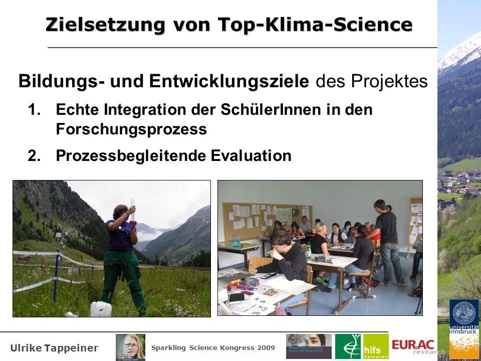 Ulrike Tappeiner Sparkling Science Kongress 2009 Zielsetzung von Top-Klima-Science Bildungs- und Entwicklungsziele des Projektes 1.Echte Integration d