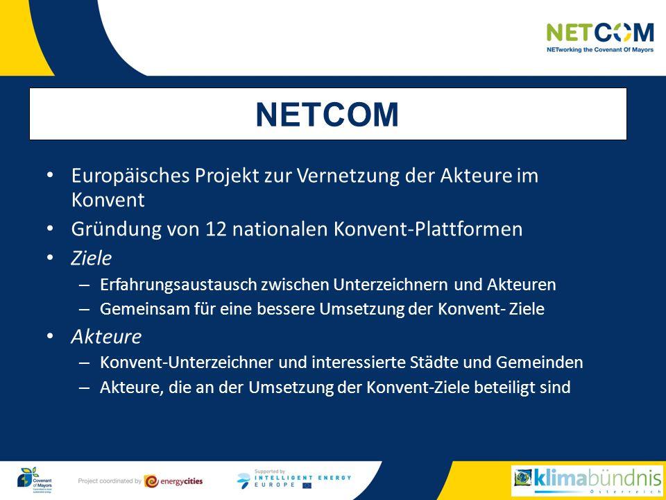 Europäisches Projekt zur Vernetzung der Akteure im Konvent Gründung von 12 nationalen Konvent-Plattformen Ziele – Erfahrungsaustausch zwischen Unterzeichnern und Akteuren – Gemeinsam für eine bessere Umsetzung der Konvent- Ziele Akteure – Konvent-Unterzeichner und interessierte Städte und Gemeinden – Akteure, die an der Umsetzung der Konvent-Ziele beteiligt sind NETCOM