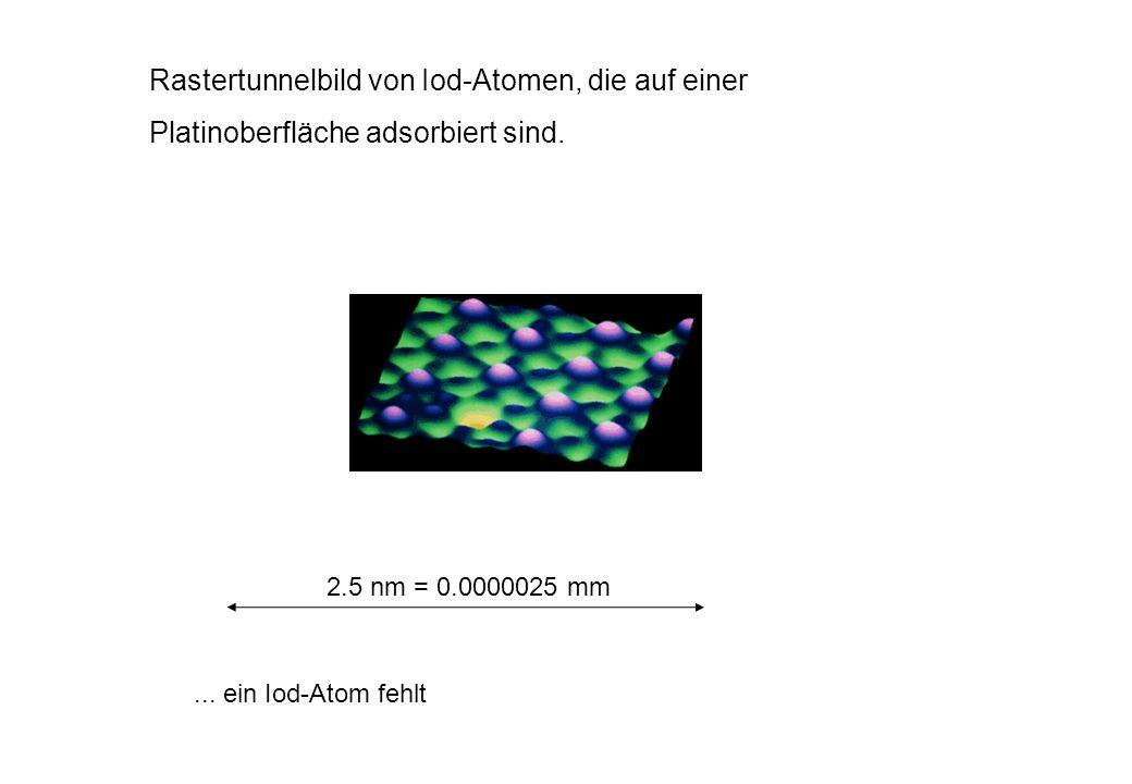 Rastertunnelbild von Iod-Atomen, die auf einer Platinoberfläche adsorbiert sind.