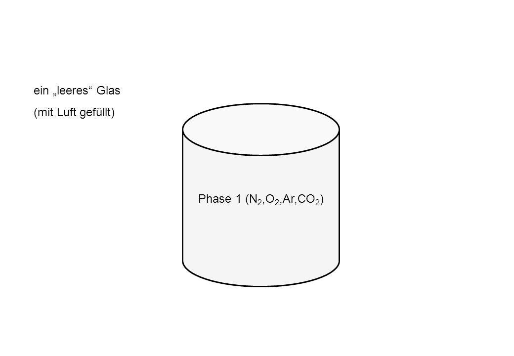 Phase 1 (N 2,O 2,Ar,CO 2 ) ein leeres Glas (mit Luft gefüllt)