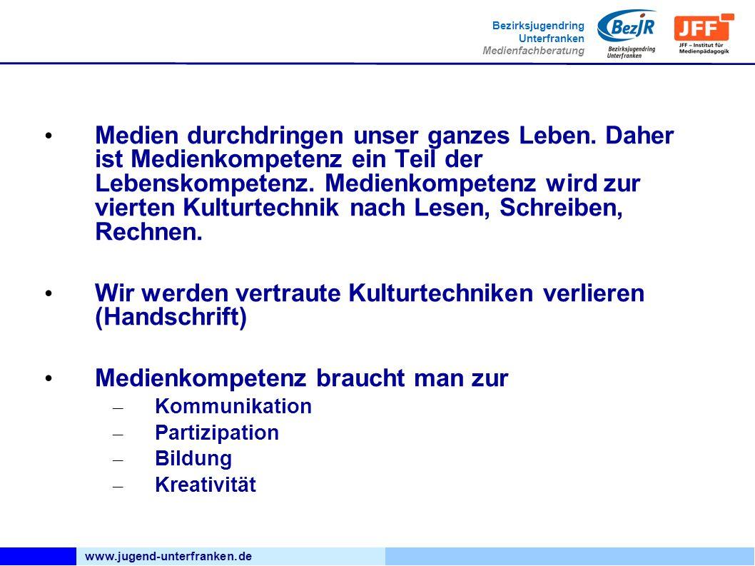 www.jugend-unterfranken.de Bezirksjugendring Unterfranken Medienfachberatung Die Medien verändern auch viele Strukturen: - Das Ehrenamt muss auch digital gedacht werden.
