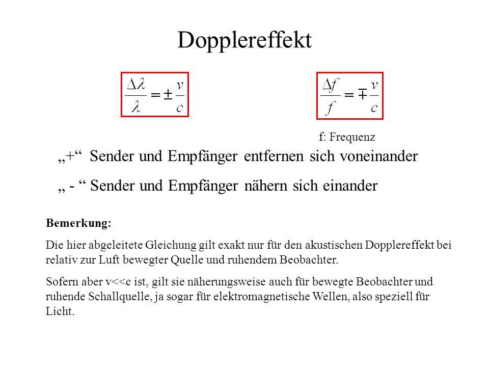Dopplereffekt + Sender und Empfänger entfernen sich voneinander - Sender und Empfänger nähern sich einander Bemerkung: Die hier abgeleitete Gleichung gilt exakt nur für den akustischen Dopplereffekt bei relativ zur Luft bewegter Quelle und ruhendem Beobachter.