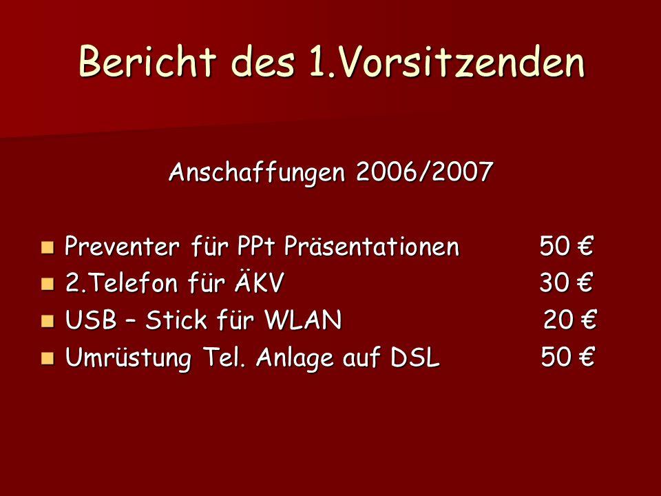 Bericht des 1.Vorsitzenden Anschaffungen 2006/2007 Preventer für PPt Präsentationen 50 Preventer für PPt Präsentationen 50 2.Telefon für ÄKV 30 2.Tele
