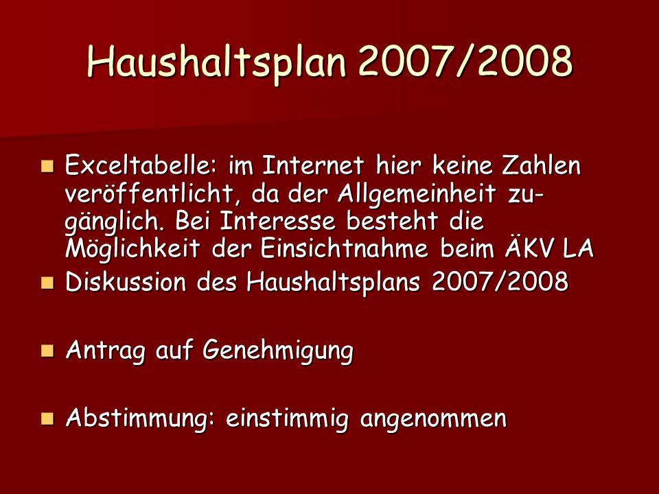 Haushaltsplan 2007/2008 Exceltabelle: im Internet hier keine Zahlen veröffentlicht, da der Allgemeinheit zu- gänglich. Bei Interesse besteht die Mögli