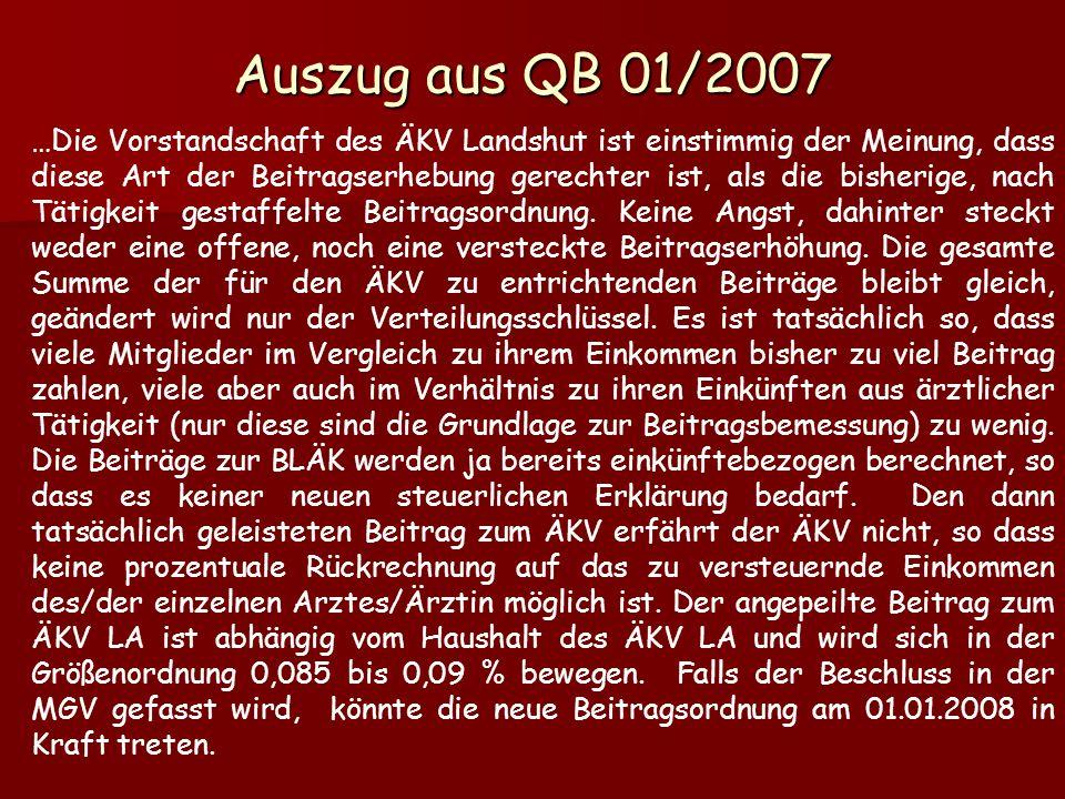 …Die Vorstandschaft des ÄKV Landshut ist einstimmig der Meinung, dass diese Art der Beitragserhebung gerechter ist, als die bisherige, nach Tätigkeit gestaffelte Beitragsordnung.