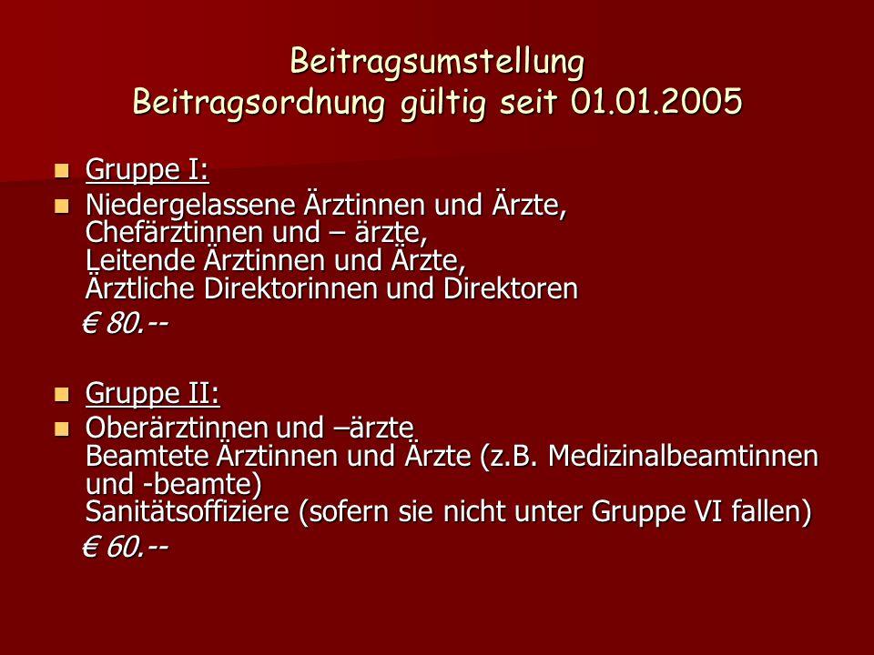 Beitragsumstellung Beitragsordnung gültig seit 01.01.2005 Gruppe I: Gruppe I: Niedergelassene Ärztinnen und Ärzte, Chefärztinnen und – ärzte, Leitende