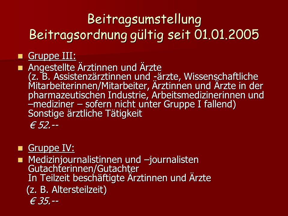 Beitragsumstellung Beitragsordnung gültig seit 01.01.2005 Gruppe III: Gruppe III: Angestellte Ärztinnen und Ärzte (z. B. Assistenzärztinnen und -ärzte