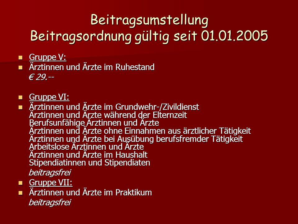 Beitragsumstellung Beitragsordnung gültig seit 01.01.2005 Gruppe V: Gruppe V: Ärztinnen und Ärzte im Ruhestand Ärztinnen und Ärzte im Ruhestand 29.--
