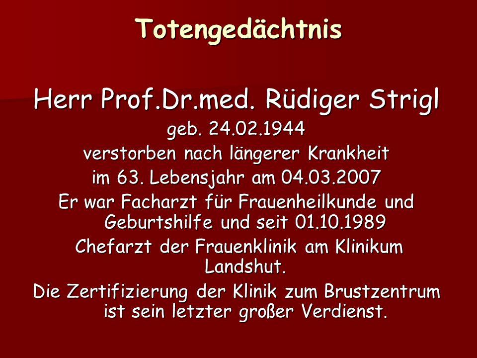 Totengedächtnis Herr Prof.Dr.med. Rüdiger Strigl geb. 24.02.1944 verstorben nach längerer Krankheit im 63. Lebensjahr am 04.03.2007 Er war Facharzt fü
