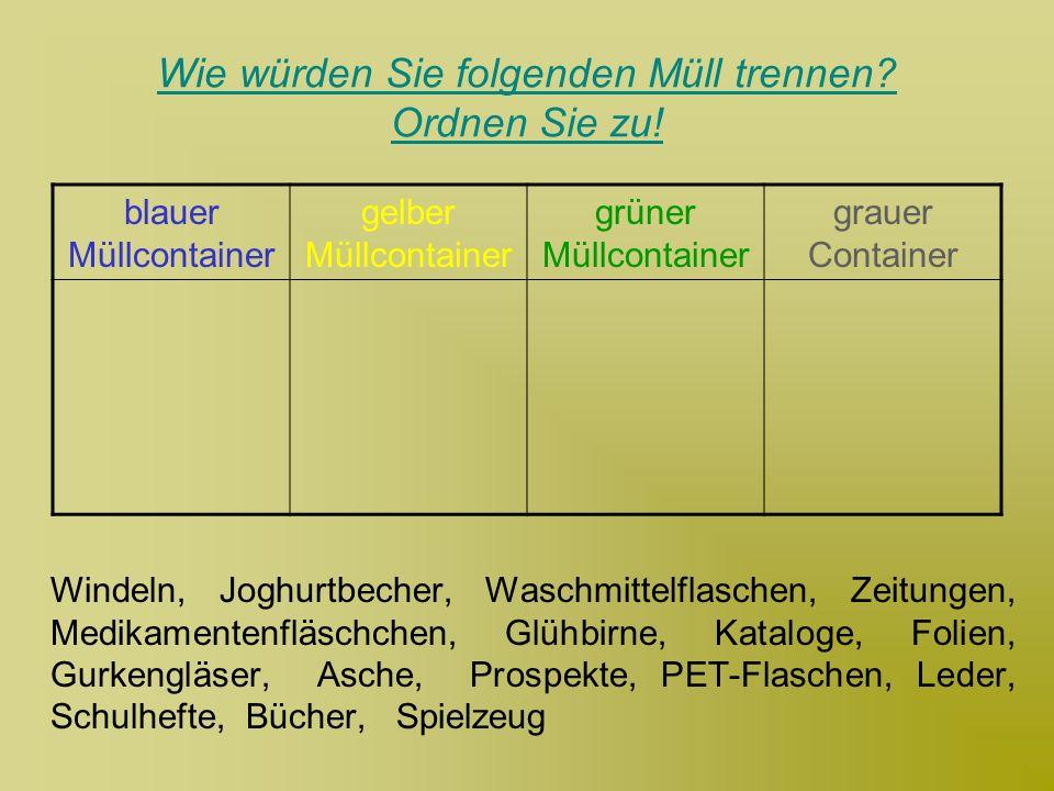 Wie würden Sie folgenden Müll trennen? Ordnen Sie zu! Windeln, Joghurtbecher, Waschmittelflaschen, Zeitungen, Medikamentenfläschchen, Glühbirne, Katal