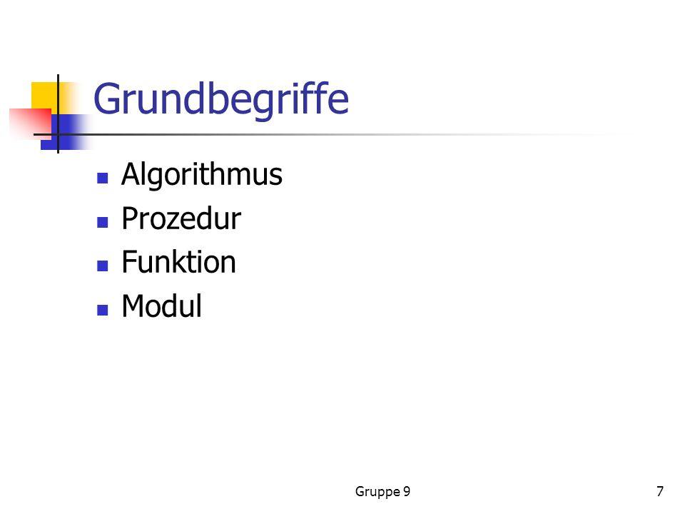 Gruppe 97 Grundbegriffe Algorithmus Prozedur Funktion Modul