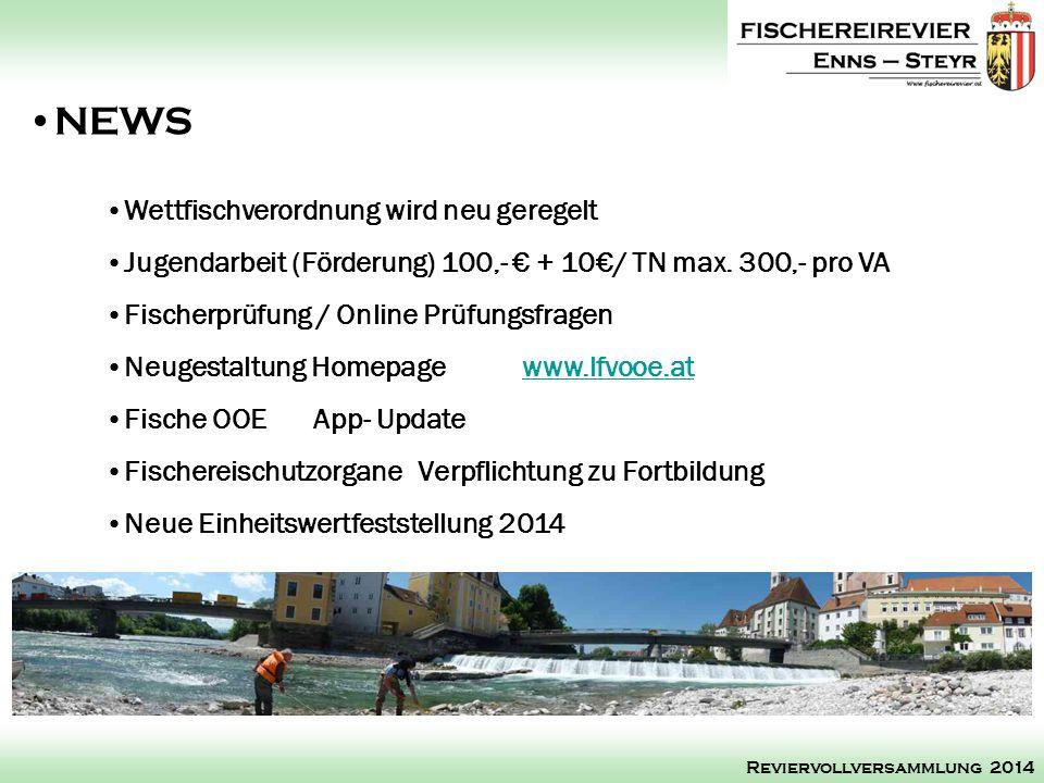 NEWS Reviervollversammlung 2014 Wettfischverordnung wird neu geregelt Jugendarbeit (Förderung) 100,- + 10/ TN max. 300,- pro VA Fischerprüfung / Onlin