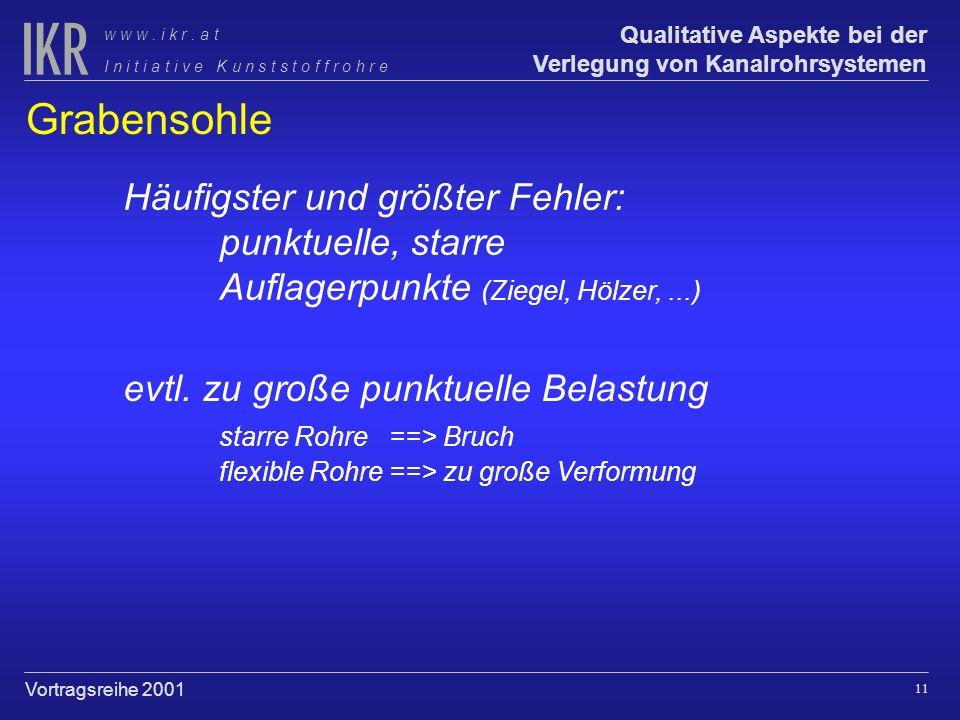 10 Qualitative Aspekte bei der Verlegung von Kanalrohrsystemen I n i t i a t i v e K u n s t s t o f f r o h r e w w w. i k r. a t Vortragsreihe 2001