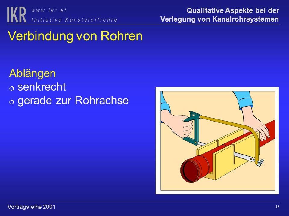 12 Qualitative Aspekte bei der Verlegung von Kanalrohrsystemen I n i t i a t i v e K u n s t s t o f f r o h r e w w w. i k r. a t Vortragsreihe 2001
