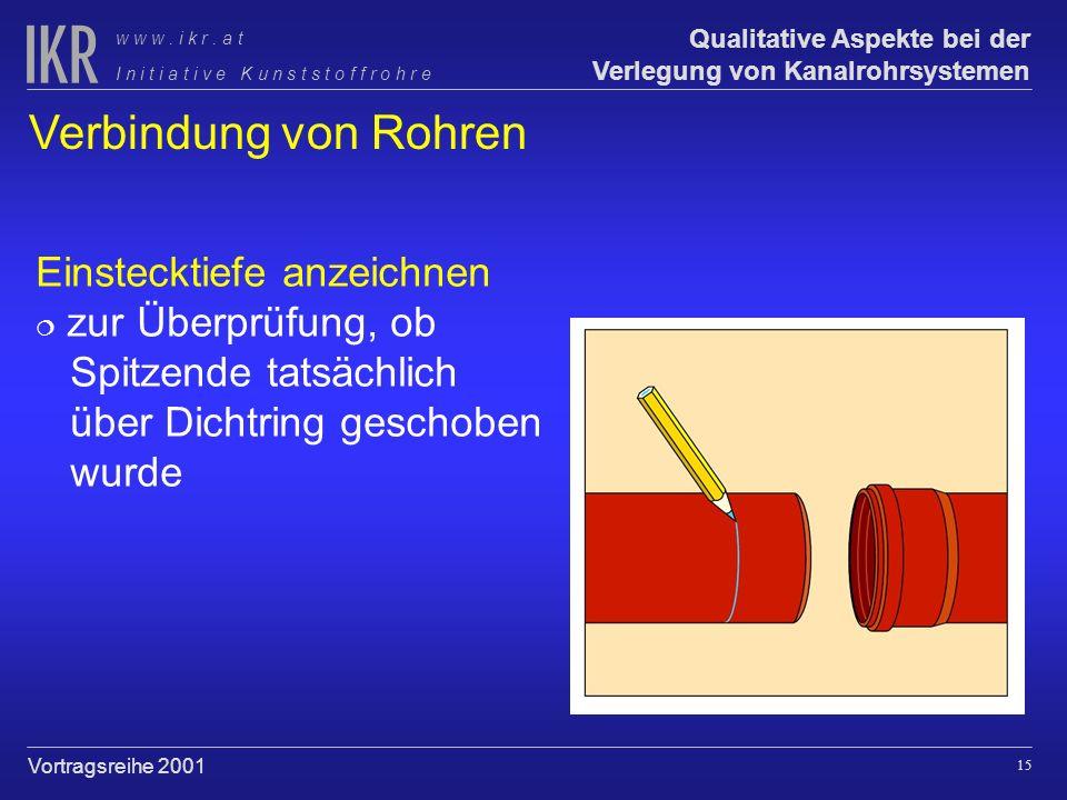 14 Qualitative Aspekte bei der Verlegung von Kanalrohrsystemen I n i t i a t i v e K u n s t s t o f f r o h r e w w w. i k r. a t Vortragsreihe 2001
