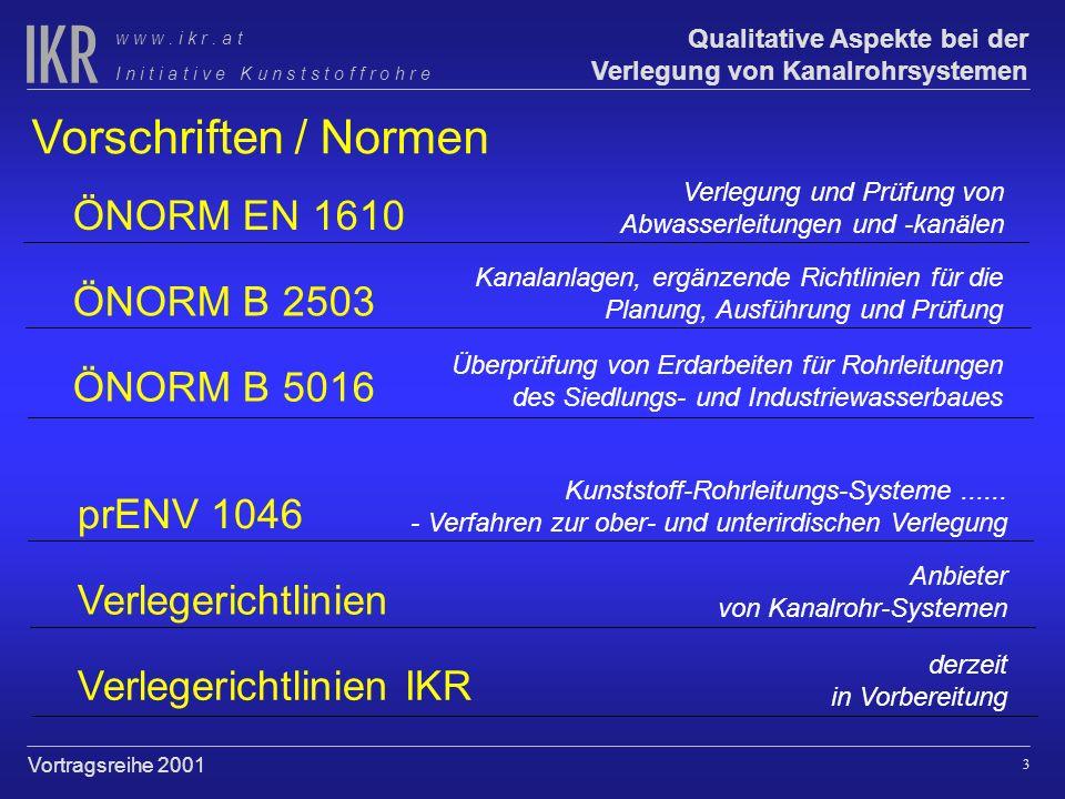 2 Qualitative Aspekte bei der Verlegung von Kanalrohrsystemen I n i t i a t i v e K u n s t s t o f f r o h r e w w w. i k r. a t Vortragsreihe 2001 K