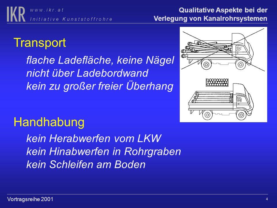 3 Qualitative Aspekte bei der Verlegung von Kanalrohrsystemen I n i t i a t i v e K u n s t s t o f f r o h r e w w w. i k r. a t Vortragsreihe 2001 V